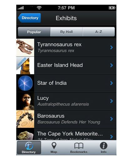Audio guides for iPhone - list of content