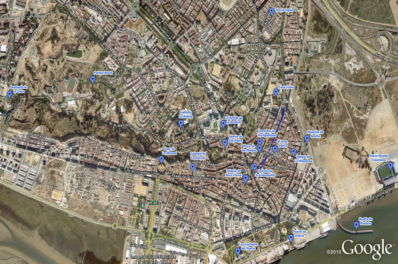 Audio guide of Huelva - Tour map