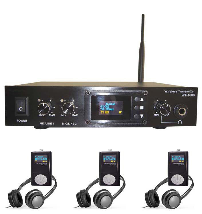Conference and simultaneous translation system - transmitter and receivers - tour guide system